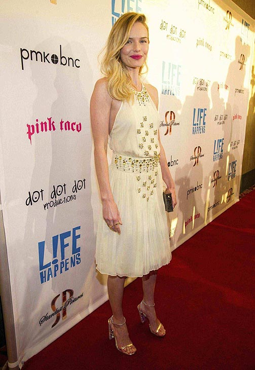 Kate Bosworth attends the after party of the premiere of &#39;L!fe Happens&#39; at Harry Morton&#39;s Pink Taco in Century City, California on April 2, 2012. She is wearing a  beige Prada dress with a collection of beautiful gold-and-silver embellishments, Christian Louboutin silver strappy sandals and jewelry and a clutch by JewelMint. <span class=meta>(WireImage &#47; John Sciulli)</span>