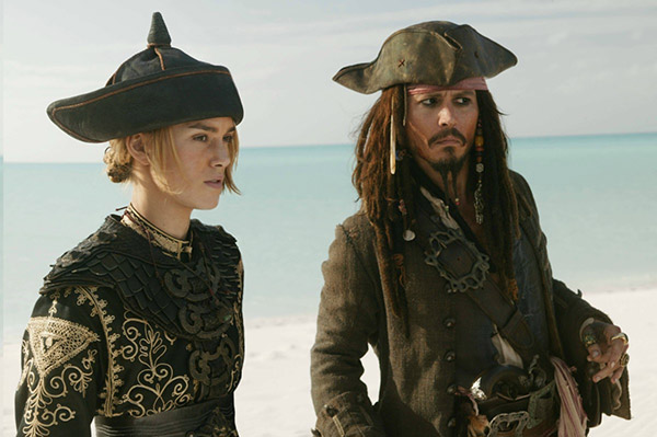 "<div class=""meta ""><span class=""caption-text "">Johnny Depp appears as Captain Jack Sparrow, with Keira Knightley as Elizabeth Swann, in a scene from the 2007 movie 'Pirates of the Caribbean: At World's End' - the third film in the series. (Walt Disney Pictures /  Jerry Bruckheimer Films)</span></div>"
