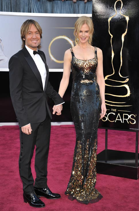 Musician Keith Urban, left, and actress Nicole Kidman arrive at the Oscars at the Dolby Theatre on Sunday Feb. 24, 2013, in Los Angeles.