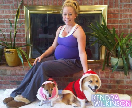 In 2009, Kendra Wilkinson dressed her dogs, Martini as Mrs. Claus &#40;left&#41; and Rascal as Santa Claus &#40;right&#41;.  Martini and Rascal have appeared on her former E! reality show &#39;The Girl Next Door&#39; as well as on her current series, &#39;Kendra.&#39; <span class=meta>(kendrawilkinson.celebuzz.com)</span>