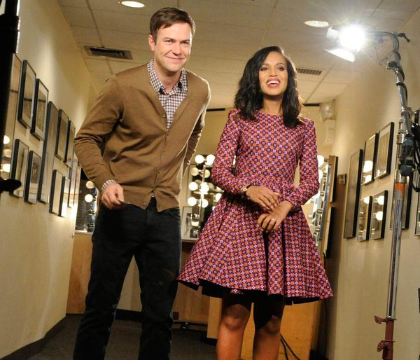 Kerry Washington appears with 'Saturday Night Live' actor Taran Killam on the NBC show's stage in New York ah
