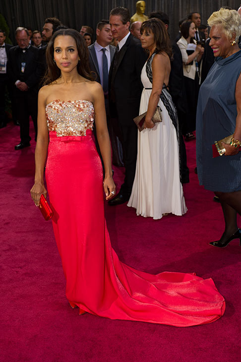 Actress Kerry Washington arrives at the 85th Academy Awards at the Dolby Theatre on Sunday Feb. 24, 2013, in Los Angeles. The actress wore a pink-red Miu Miu strapless gown to the event. <span class=meta>(Bryan Crowe &#47; A.M.P.A.S.)</span>
