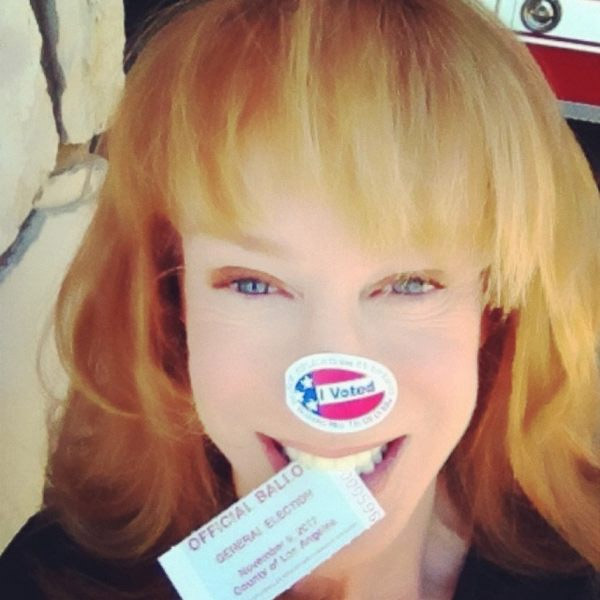 Kathy Griffin Tweeted this photo of on Election Day, saying: &#39;Show me u voted. I wanna c where YOU put ur sticker. No judgement on body parts:&#41;&#39; <span class=meta>(twitter.com&#47;kathygriffin&#47;status&#47;265948901679460353)</span>