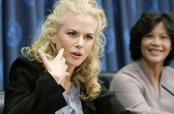 Nicole Kidman appears in a photo from a 2006 press conference alongside the Executive Director of UNIFEM, Noeleen Heyzer. Kidman acts as an ambassador for the organization and in the photo is briefing correspondents at UN Headquarters. <span class=meta>(flickr.com&#47;photos&#47;un_photo&#47; &#47; Mark Garten)</span>
