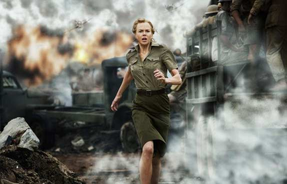 Nicole Kidman appears in a scene from the 2008 film 'Australia' which is set in Northern Australia before World War II, and depicts a couple enduring the Japanese bombing of Darwin, Australia.