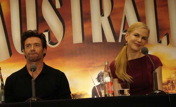 Nicole Kidman appears in a photo alongside her co-star Hugh Jackman at a press conference for their 2007 film 'Australia,' in Paris on Dec. 2, 2008.