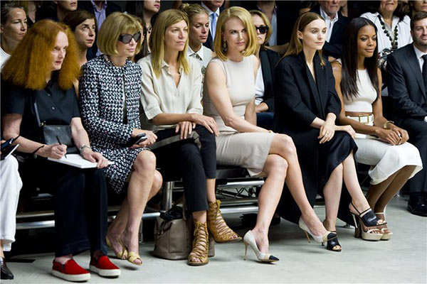 Anna Wintour (sunglasses), Nicole Kidman (center), Rooney Mara and Naomie Harris appear at the Spring 2014 Calvin Klein Fashion Show duri