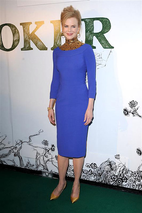 Nicole Kidman wears an indigo and gold L&#39;Wren Scott dress at the premiere of &#39;Stoker&#39; at EVE in London on Feb. 17, 2013. <span class=meta>(Paul Treadway &#47; Startraksphoto.com)</span>