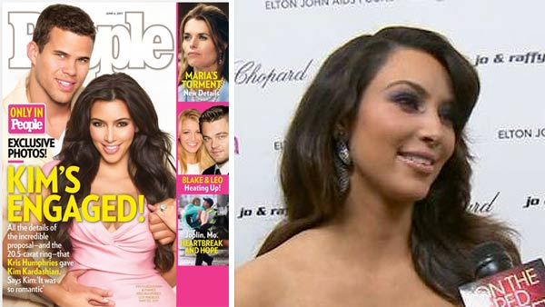 Kim Kardashian and Kris Humphries appear on the cover of People magazine, which announced their engagement. / Kim Kardashian talks to OnTheRedCarpet.com at Elton John's Oscar party after the 83rd Academy Awards in February 2011.