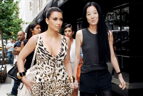 Kim Kardashian appears alongside designer Vera Wang.
