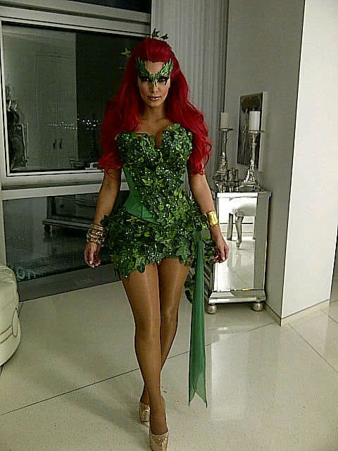 Kim Kardashian revealed her Poison Ivy costume in a photo posted on her