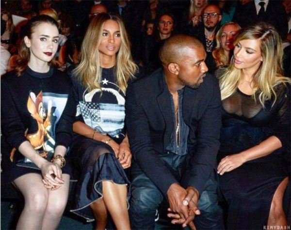 "<div class=""meta ""><span class=""caption-text "">Kim Kardashian (right) and Kanye West sit beside actress Lily Collins, daughter of Phil Collins and star of films such as the recently-released 'The Mortal Instruments: City of Bones,' and singer Ciara at the Givenchy Spring/Summer 2014 Ready-To-Wear Collection fashion show during Paris Fashion Week on Sept. 29, 2013. (instagram.com/p/e25IR6OSwQ/ / http://instagram.com/kimkardashian)</span></div>"
