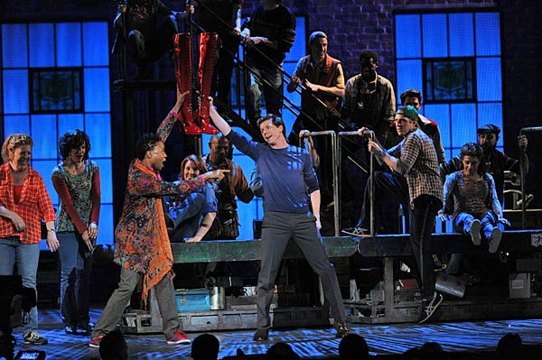 "<div class=""meta image-caption""><div class=""origin-logo origin-image ""><span></span></div><span class=""caption-text"">The cast of 'Kinky Boots' performs  The cast of the new Broadway musical 'Kinky Boots' -- which took home the award for Best Musical -- perform during the Tony Awards broadcast live from Radio City Music Hall in New York City, Sunday, June 9.  The musical, which led the evening with 15 nominations, is based on a 2005 film and is about a struggling shoe factory owner who saves his family's business with the help of a drag queen. Check out a FULL LIST of WINNERS.  (CBS / Heather Wines)</span></div>"