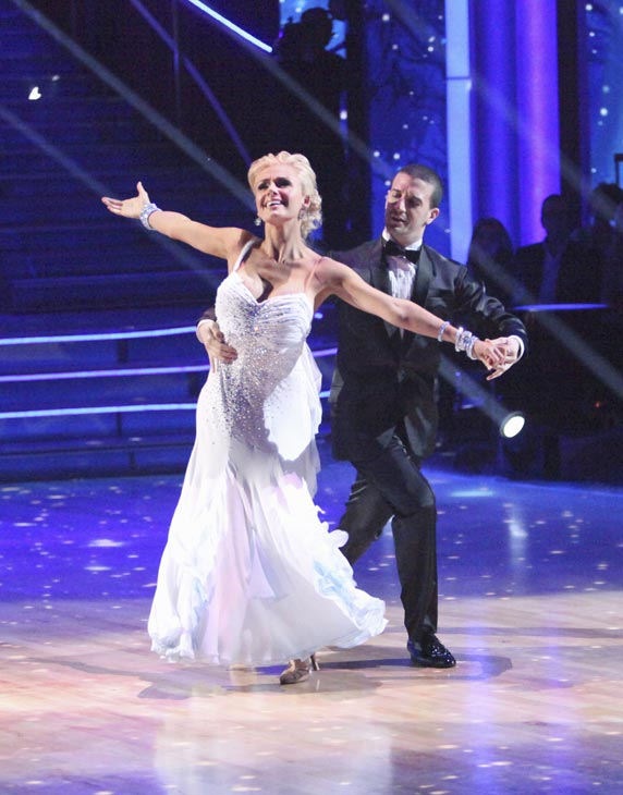Classical singer Katherine Jenkins and her partner Mark Ballas received 29 out of 30 points from the judges for their Waltz on week three of &#39;Dancing With The Stars,&#39; which aired on April 2, 2012. <span class=meta>(ABC Photo)</span>