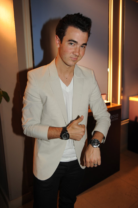 Kevin Jonas from the Jonas Brothers appears at an intimate cocktail party to celebrate the launch of the Joseph Abboud watch collection at the Sunset Tower Hotel in Los Angeles on Thursday, June 16, 2011. <span class=meta>(Seth Browarnik &#47; WorldRedeye.com)</span>