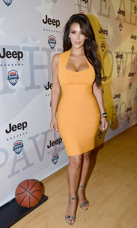 Kim Kardashian attends the launch of the 2012 Jeep Wrangler Unlimited Altitude Edition at the Los Angeles Center Studios on April 22, 2012. Jeep is a sponsor of USA Basketball. Celebrities shot baskets at the Pop-a-Shot and danced to beats spun by DJ Biz Markie. <span class=meta>(WireImage &#47; Chris Weeks)</span>