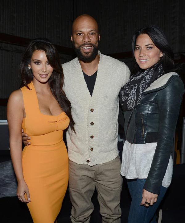 Kim Kardashian, Common and Olivia Munn attend the launch of the 2012 Jeep Wrangler Unlimited Altitude Edition at the Los Angeles Center Studios on April 22, 2012.