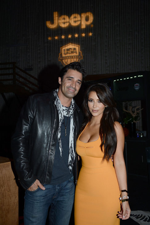Kim Kardashian and Gilles Marini attend the launch of the 2012 Jeep Wrangler Unlimited Altitude Edition at the Los Angeles Center Studios on April 22, 2012.
