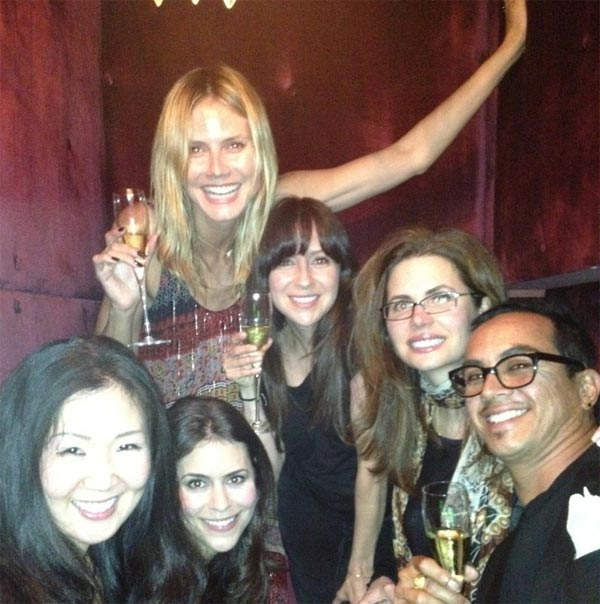 Heidi Klum Tweeted this photo of herself with friends on June 1, 2012, the day she turned 39. &#39;Surprise birthday dinner with friends! Turning 29....oops...I mean 39!&#39; she said. <span class=meta>(t.co&#47;wMDFpKz6)</span>