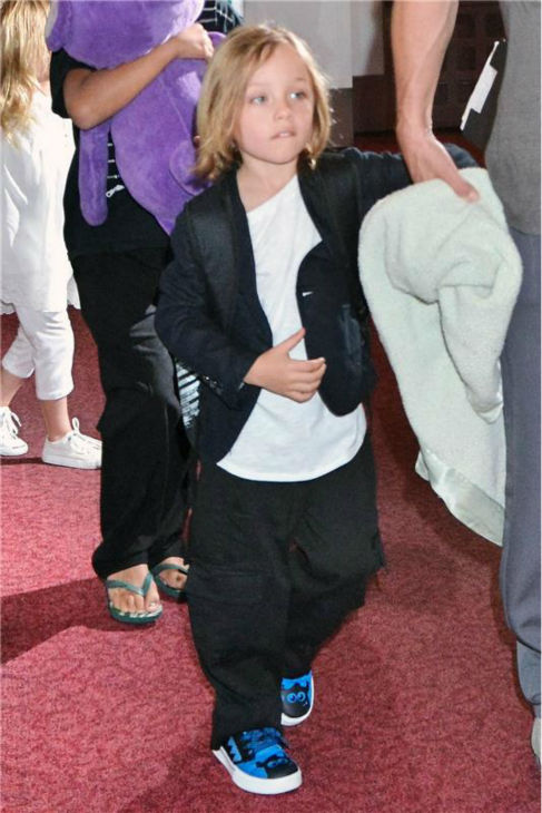 Knox Jolie-Pitt, the 5-year-old son of Angelina Jolie and Brad Pitt, is seen at Tokyo International Airport on July 28, 2013. The actors also arrive with two more of their six children -- Pax, 9, and his twin sister Vivienne, on the trip. <span class=meta>(Aflo &#47; startraksphoto.com)</span>