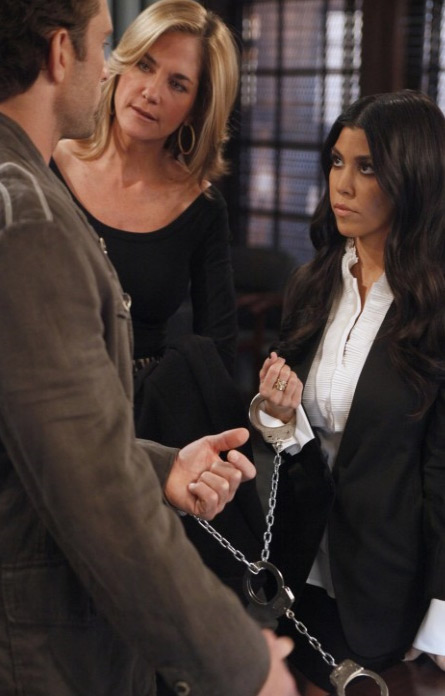 "<div class=""meta ""><span class=""caption-text "">Kourtney Kardashian appears alongside David Fumero and Kassie DePaiva in a scene from a March 28, 2011 episode of the ABC soap opera 'One Life To Live.' (ABC)</span></div>"