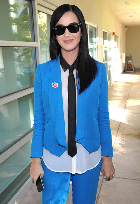 Katy Perry, a Barack Obama supporter &#40;see photos&#41;, Tweeted this photo of herself on Election Day, saying: &#39;Proud to exercise my civic duty!&#39; <span class=meta>(twitter.com&#47;katyperry&#47;status&#47;265962137397112832&#47;photo&#47;1)</span>