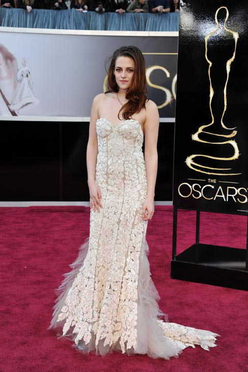 Actress Kristen Stewart arrives at the Oscars at the Dolby Theatre on Sunday Feb. 24, 2013, in Los Angeles.