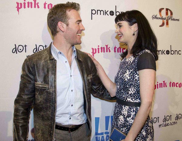 Krysten Ritter and James Van Der Beek attend the after party of the premiere of &#39;L!fe Happens&#39; at Harry Morton&#39;s Pink Taco in Century City, California on April 2, 2012. The two co-star in the ABC sitcom &#39;Don&#39;t Trust the B---- In Apartment 23,&#39; which debuted on April 11. Ritter is wearing a blue and white dotted Jenni Kayne Spring 2012 dress with black cap sleeves, a blue Jimmy Choo &#39;Cameo&#39; clutch and Swarovski earrings <span class=meta>(WireImage &#47; John Sciulli)</span>