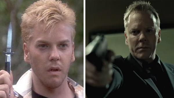 Kiefer Sutherland, best known in recent years as Jack Bauer from the television series &#39;24,&#39; was about 20 when he played bad boy Ace in the 1986 film &#39;Stand By Me.&#39; He currently stars on the FOX show &#39;Touch.&#39; A year later, he portrayed blood-sucking villain David in the cult vampire movie &#39;Lost Boys&#39; with his &#39;Stand By Me&#39; co-star Corey Feldman. In 1988, he played Josiah Gordon &#39;Doc&#39; Scurlock in the hit western &#39;Young Guns&#39; and reprised his role in its 1990 sequel.  The same year, he starred in the thriller &#39;Flatliners&#39; with Julia Roberts. The two began dating and Sutherland and his wife of two years, Camelia Kath, divorced. They have one child, Sarah. Sutherland and Roberts became engaged and were set to marry in 1991, but she called off the wedding and reportedly began dating Sutherland&#39;s &#39;Lost Boys&#39; co-star, Jason Patric. Sutherland starred alongside &#39;Flatliners&#39; actor Kevin Bacon, as well as Tom Cruise and Jack Nicholson, in the Oscar-nominated film &#39;A Few Good Men&#39; in 1992. Sutherland reunited with fellow &#39;Young Guns&#39; actor Charlie Sheen in the film &#39;The Three Musketeers&#39; the following year. Sutherland later starred in the movies &#39;A Time to Kill&#39; and &#39;Dark City.&#39; Sutherland began starring in &#39;24&#39; in 2001 and won an Emmy for his main role in 2006. The hit spy series ended in 2010 and producers have said that a movie is under development. In 2007, Sutherland was arrested for drunk driving. He served 48 days in jail for the charge and for violating probation stemming from a 2004 DUI conviction. Also in 2004, Sutherland and his second wife, Kelly Winn, divorced after almost eight years of marriage.  In February 2011, Sutherland made his Broadway debut in a revival of the 1972 play &#39;That Championship Season,&#39; which also starred Patric and comedian Jim Gaffigan. In March 2011, his new online show, &#39;The Confession,&#39; aired on Hulu.com.&#40;Pictured: Kiefer Sutherland appears as Ace in the 1986 movie &#39;Stand By Me.&#39; &#47; Kiefer Sutherland in a scene from the 2011 online series &#39;The Confession.&#39;&#41; <span class=meta>(Columbia Pictures &#47; Digital Broadcasting Group &#40;DBG&#41; &#47; Hulu)</span>