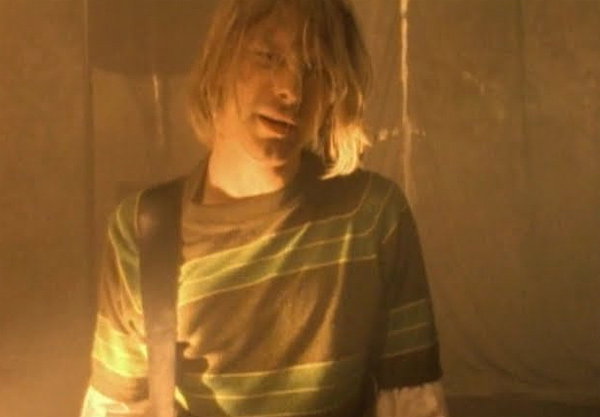 Kurt Cobain appears in a scene from the music video 'Smells Like Teen Spirit.'