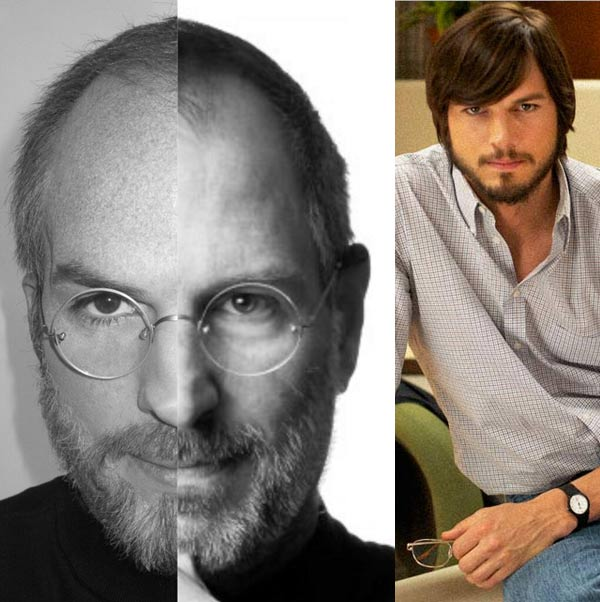 Ashton Kutcher appears as Steve Jobs in the 2013 film jOBS. / Ashton Kutcher displayed a split Twitter photo of himself as Jobs and a photo of Jobs himself. - Provided courtesy of Glen Wilson/Sundance / twitter.com/aplusk