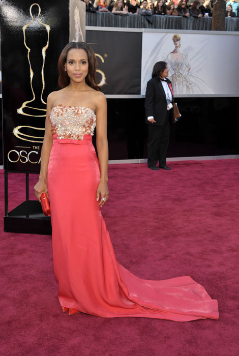 Actress Kerry Washington arrives at the 85th Academy Awards at the Dolby Theatre on Sunday Feb. 24, 2013, in Los Angeles.