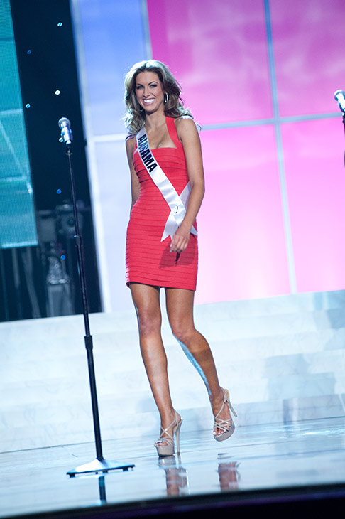 Miss Alabama USA 2012 Katherine Webb, from Phenix City, appears in a Sherri Hill dress and Chinese Laundry shoes at a rehearsal for the Miss USA 2012 pageant at the Planet Hollywood Resort and Casino Theatre for the Performing Arts in Las Vegas, Nevada on June 2, 2012. <span class=meta>(Richard Harbaugh &#47; Miss Universe Organization L.P.)</span>