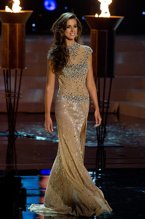 Miss Alabama USA 2012 Katherine Webb, from Phenix City, poses in an evening gown at the Miss USA 2012 pageant at the Planet Hollywood Resort and Casino Theatre for the Performing Arts in Las Vegas, Nevada on June 3, 2012.