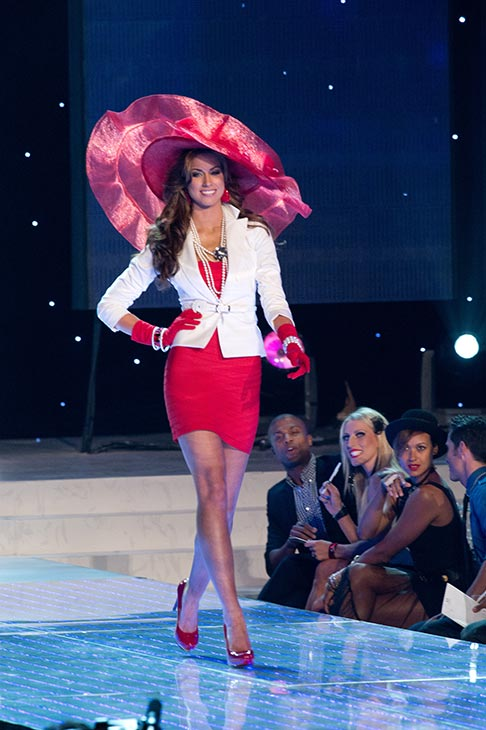 "<div class=""meta ""><span class=""caption-text "">Miss Alabama USA 2012 Katherine Webb, from Phenix City, performs in a group opening dance number at the Miss USA 2012 pageant at the Planet Hollywood Resort and Casino Theatre for the Performing Arts in Las Vegas, Nevada on June 3, 2012. She is wearing a Sherri Hill dress and Chinese Laundry shoes. (Richard Harbaugh / Miss Universe Organization L.P.)</span></div>"