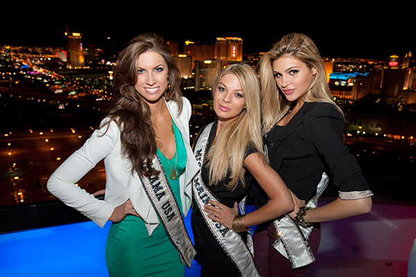 Miss Alabama USA 2012, Katherine Webb; Miss Maine USA 2012, Rani Williamson; and Miss California USA 2012, Natalie Pack; pose for a photo with the Las Vegas skyline at the Voodoo Lounge in the Rio Hotel and Casino in Las Vegas, Nevada on Sunday, May 27, 2012. The 51 Miss USA 2012 Contestants spent the following week touring, filming, rehearsing and making new friends while preparing to compete for the coveted title of Miss USA 2012. The pageant was held on June 3, 2012. <span class=meta>(Darren Decker &#47; Miss Universe Organization L.P.)</span>