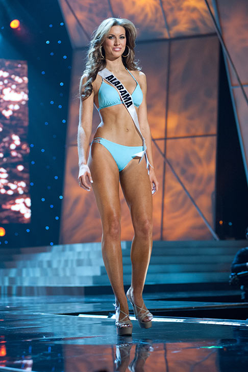 Miss Alabama USA 2012 Katherine Webb, from Phenix City, appears in a bikini at a rehearsal for the Miss USA 2012 pageant at the Planet Hollywood Resort and Casino Theatre for the Performing Arts in Las Vegas, Nevada on June 2, 2012.