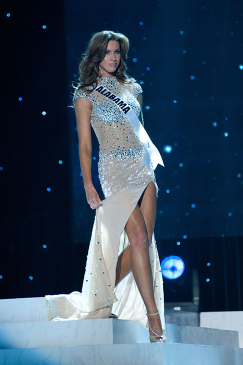 Miss Alabama USA 2012 Katherine Webb, from Phenix City, appears in an evening gown at a rehearsal for the Miss USA 2012 pageant at the Planet Hollywood Resort and Casino Theatre for the Performing Arts in Las Vegas, Nevada on June 2, 2012.
