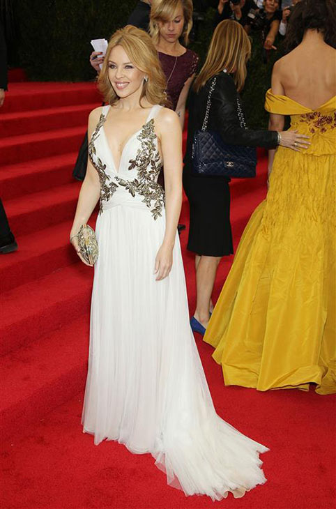 Australian pop singer and actress Kylie Minogue appears at the Metropolitan Museum of Art&#39;s 2014 Costume Institute Benefit gala, celebrating &#39;Charles James: Beyond Fashion,&#39; in New York on May 5, 2014. <span class=meta>(Marion Curtis &#47; Startraksphoto.com)</span>