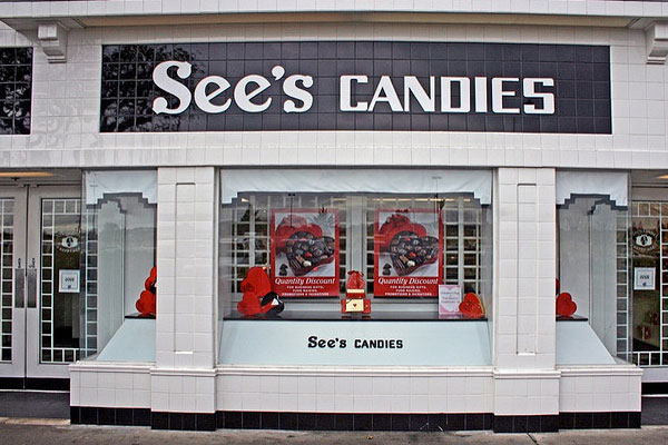 A photo of a See's Candies store in San Leandro.