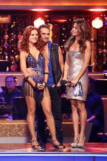 Former member of the boy band 98 Degrees, Drew Lachey and his partner Anna Trebunskaya react to being eliminated on 'Dancing With The Stars: The Results Show' on Tuesday, Oct. 9, 2012.