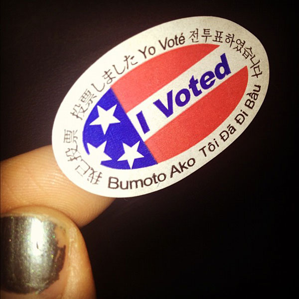 Adam Lambert Tweeted this photo of his &#39;I Voted&#39; sticker on Election Day on Nov. 6, 2012. <span class=meta>(twitter.com&#47;adamlambert&#47;status&#47;265912639488663552)</span>