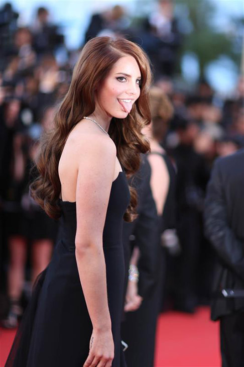 Lana Del Rey acts playful at the opening ceremony and premiere of &#39;Moonrise Kingdom&#39; at the 2012 Cannes International Film Festival oin Cannes, France on May 16, 2012. <span class=meta>( Frederic Nebinger &#47; Abaca &#47; Startraksphoto.com)</span>