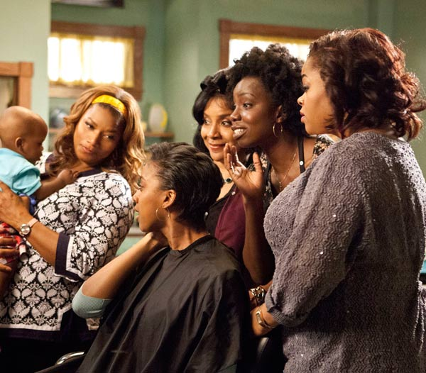 L to R: Queen Latifah (M'Lynn), Condola Rashad (Shelby), Phylicia Rashad (Clariee), Adepero Oduye (Annelle) and Jill Scott (Truvy) star in the all-new  Lifetime Original Movie, 'Steel Magnolias,' premiering on Lifetime on Oct. 7, 2012.