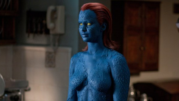 Lawrence portrayed Mystique in the X-men film &#39;X-Men: First Class.&#39; The actress was painted nude and covered in scales for her part. She told People magazine it took seven women each day during the four-month shoot to paint the actress completely blue.  &#39;Those girls and I got so close,&#39; she&#39;s said to the magazine. &#39;It was kind of like going to a really bizarre sleepover.&#39; Pictured: Jennifer Lawrence appears in a scene from the 2011 film &#39;X-Men: First Class.&#39; <span class=meta>(20th Century Fox)</span>