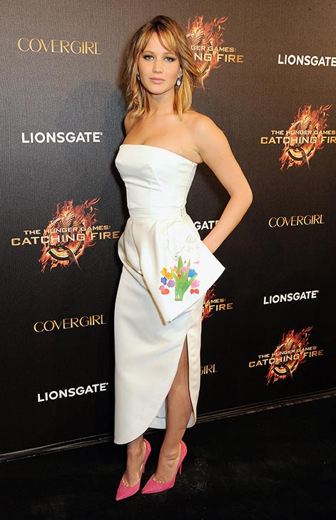 Jennifer Lawrence arrives on the red carpet at Lionsgate&#39;s &#39;The Hunger Games: Catching Fire&#39; Cannes Party at Baoli Beach, sponsored by COVERGIRL, on May 18, 2013 in Cannes, France. <span class=meta>(Dave M. Benett &#47; Getty Images for Lionsgate)</span>