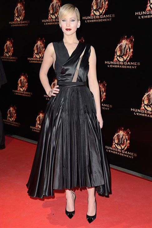 Jennifer Lawrence appears at the premiere of 'The Hunger Games: Catching Fire' in Paris on Nov. 15, 2013.