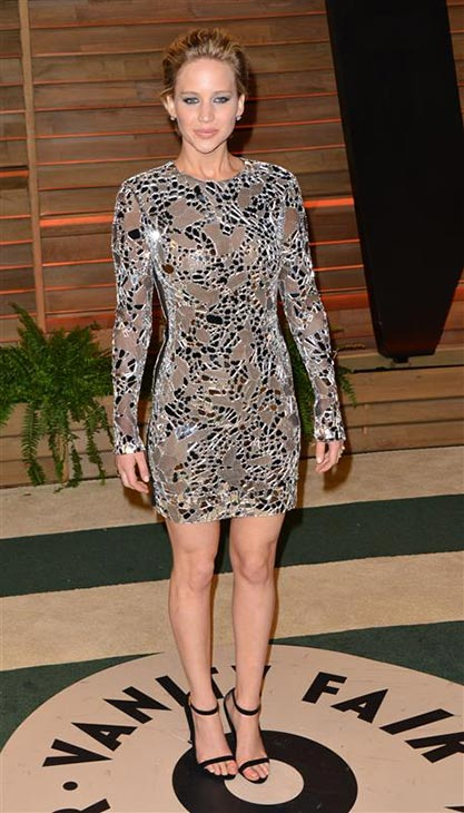 Jennifer Lawrence appears at the 2014 Vanity Fair Oscar party in Los Angeles, California on March 2, 2014. She was nominated for Best Supporting Actress earlier in the night but lost to Lupita Nyong&#39;o. <span class=meta>(Tony DiMaio &#47; Startraksphoto.com)</span>