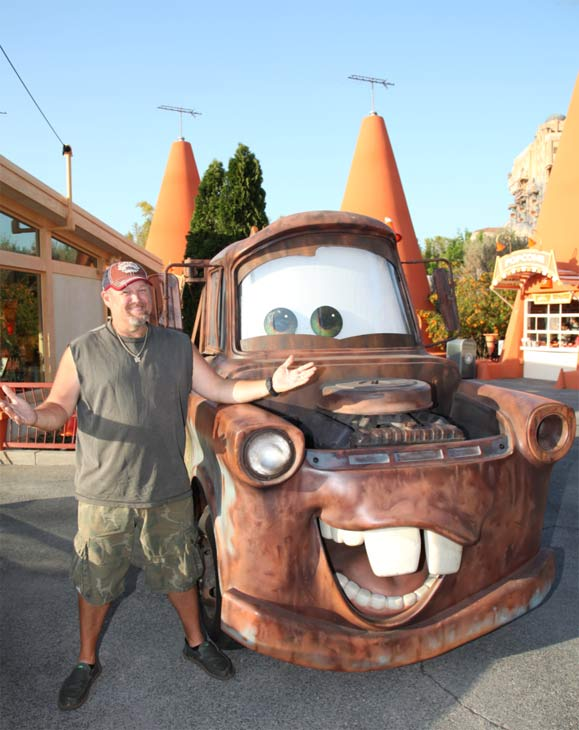Larry the Cable Guy &#40;actor Dan Whitney&#41; meets his alter ego, Mater, while getting a preview of Cars Land in Disney California Adventure park in Anaheim, California on May 31, 2012. Cars Land, which opens on June 15, will immerse guests in the thrilling world of the Disney-Pixar blockbuster &#39;Cars&#39; film franchise as they step into the town of Radiator Springs. <span class=meta>(Paul Hiffmeyer &#47; Disneyland)</span>