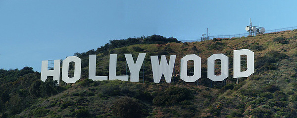 A photo of the famous Hollywood sign in Los Angeles.